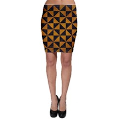 Triangle1 Black Marble & Yellow Grunge Bodycon Skirt