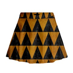 Triangle2 Black Marble & Yellow Grunge Mini Flare Skirt