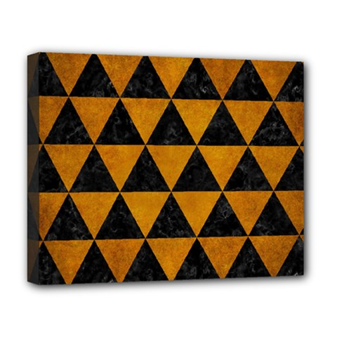 Triangle3 Black Marble & Yellow Grunge Deluxe Canvas 20  X 16   by trendistuff
