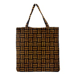 Woven1 Black Marble & Yellow Grunge (r) Grocery Tote Bag by trendistuff