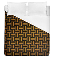 Woven1 Black Marble & Yellow Grunge (r) Duvet Cover (queen Size) by trendistuff