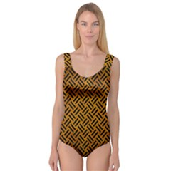 Woven2 Black Marble & Yellow Grunge Princess Tank Leotard  by trendistuff