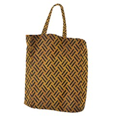 Woven2 Black Marble & Yellow Grunge Giant Grocery Zipper Tote by trendistuff