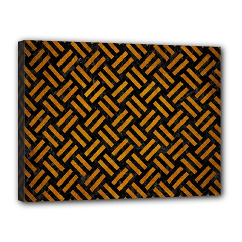 Woven2 Black Marble & Yellow Grunge (r) Canvas 16  X 12  by trendistuff