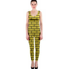 Brick1 Black Marble & Yellow Leather Onepiece Catsuit