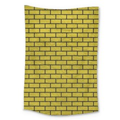 Brick1 Black Marble & Yellow Leather Large Tapestry by trendistuff