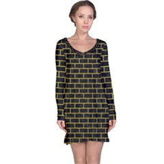 Brick1 Black Marble & Yellow Leather (r) Long Sleeve Nightdress