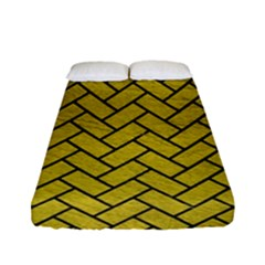 Brick2 Black Marble & Yellow Leather Fitted Sheet (full/ Double Size) by trendistuff