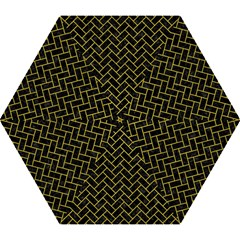 Brick2 Black Marble & Yellow Leather (r) Mini Folding Umbrellas by trendistuff
