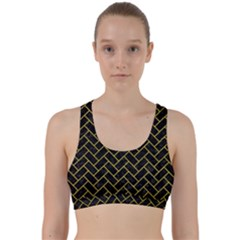 Brick2 Black Marble & Yellow Leather (r) Back Weave Sports Bra