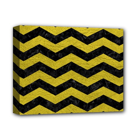 Chevron3 Black Marble & Yellow Leather Deluxe Canvas 14  X 11  by trendistuff