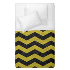 Chevron3 Black Marble & Yellow Leather Duvet Cover (single Size) by trendistuff