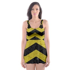 Chevron3 Black Marble & Yellow Leather Skater Dress Swimsuit