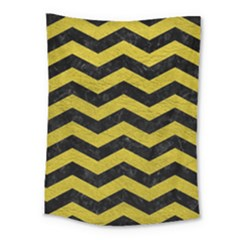 Chevron3 Black Marble & Yellow Leather Medium Tapestry