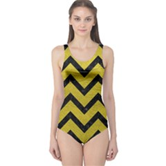 Chevron9 Black Marble & Yellow Leather One Piece Swimsuit