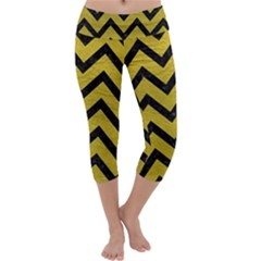 Chevron9 Black Marble & Yellow Leather Capri Yoga Leggings by trendistuff