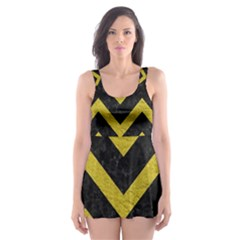 Chevron9 Black Marble & Yellow Leather (r) Skater Dress Swimsuit