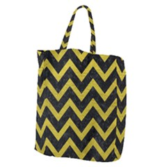 Chevron9 Black Marble & Yellow Leather (r) Giant Grocery Zipper Tote
