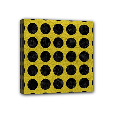 Circles1 Black Marble & Yellow Leather Mini Canvas 4  X 4