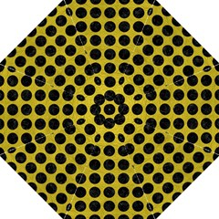 Circles1 Black Marble & Yellow Leather Straight Umbrellas by trendistuff