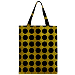 Circles1 Black Marble & Yellow Leather Zipper Classic Tote Bag by trendistuff