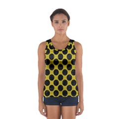 Circles2 Black Marble & Yellow Leather Sport Tank Top  by trendistuff