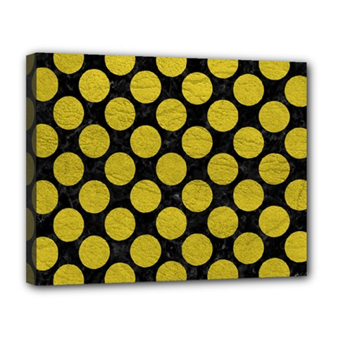 Circles2 Black Marble & Yellow Leather (r) Canvas 14  X 11  by trendistuff