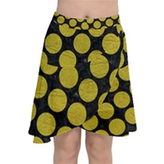 Circles2 Black Marble & Yellow Leather (r) Chiffon Wrap