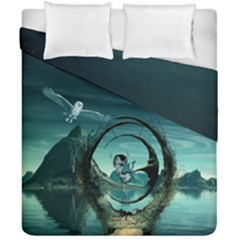 Cute Fairy Dancing On The Moon Duvet Cover Double Side (california King Size) by FantasyWorld7