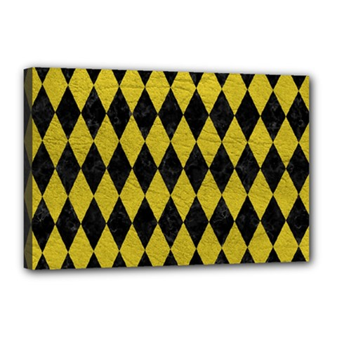 Diamond1 Black Marble & Yellow Leather Canvas 18  X 12  by trendistuff