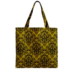 Damask1 Black Marble & Yellow Leather Zipper Grocery Tote Bag by trendistuff