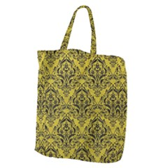 Damask1 Black Marble & Yellow Leather Giant Grocery Zipper Tote