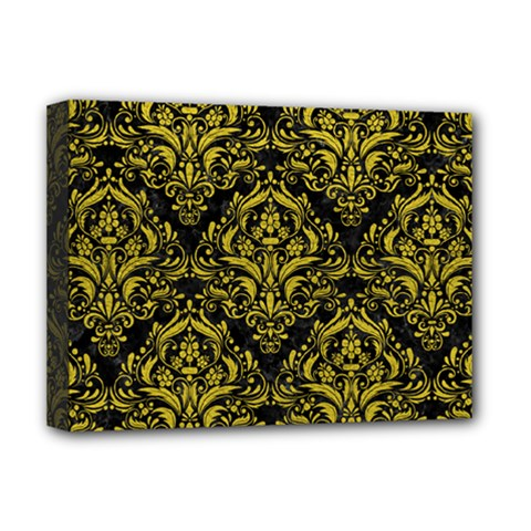 Damask1 Black Marble & Yellow Leather (r) Deluxe Canvas 16  X 12   by trendistuff