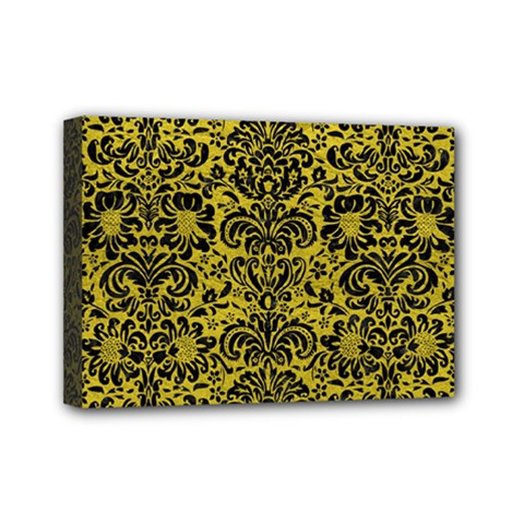 Damask2 Black Marble & Yellow Leather Mini Canvas 7  X 5  by trendistuff