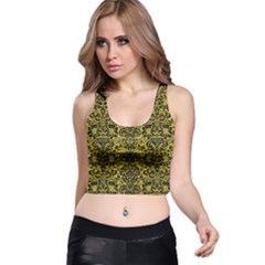 Damask2 Black Marble & Yellow Leather Racer Back Crop Top by trendistuff