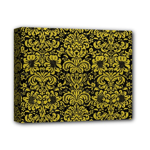 Damask2 Black Marble & Yellow Leather (r) Deluxe Canvas 14  X 11  by trendistuff