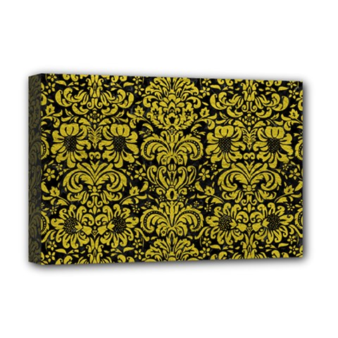 Damask2 Black Marble & Yellow Leather (r) Deluxe Canvas 18  X 12   by trendistuff