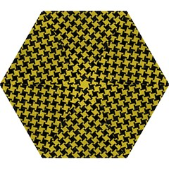 Houndstooth2 Black Marble & Yellow Leather Mini Folding Umbrellas by trendistuff