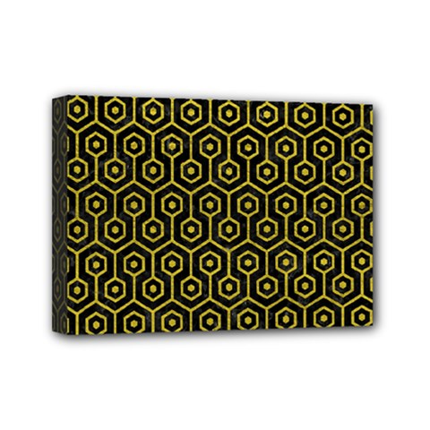 Hexagon1 Black Marble & Yellow Leather (r) Mini Canvas 7  X 5  by trendistuff