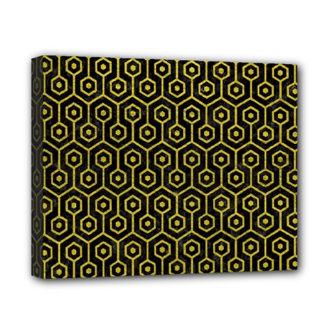 Hexagon1 Black Marble & Yellow Leather (r) Canvas 10  X 8