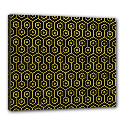 Hexagon1 Black Marble & Yellow Leather (r) Canvas 24  X 20  by trendistuff