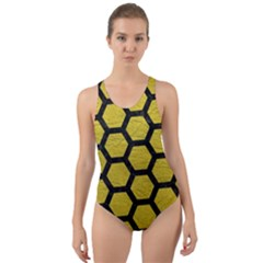 Hexagon2 Black Marble & Yellow Leather Cut Out Back One Piece Swimsuit