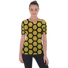 Hexagon2 Black Marble & Yellow Leather Short Sleeve Top