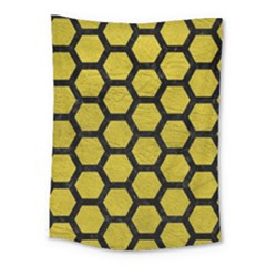 Hexagon2 Black Marble & Yellow Leather Medium Tapestry