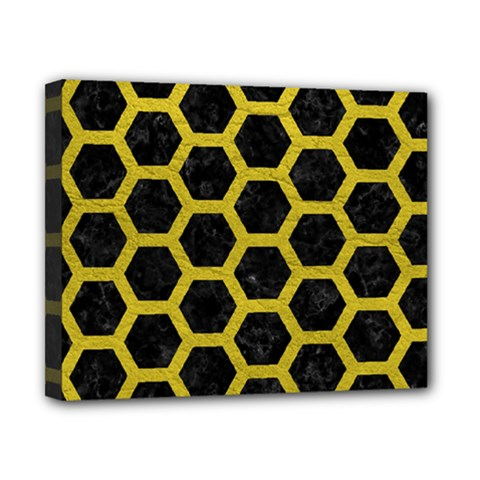 HEXAGON2 BLACK MARBLE & YELLOW LEATHER (R) Canvas 10  x 8