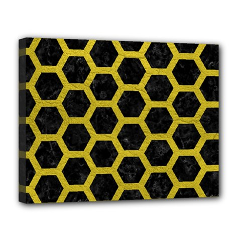 HEXAGON2 BLACK MARBLE & YELLOW LEATHER (R) Canvas 14  x 11