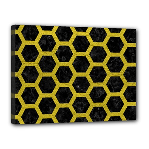 HEXAGON2 BLACK MARBLE & YELLOW LEATHER (R) Canvas 16  x 12