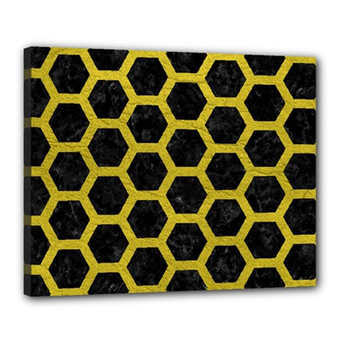 HEXAGON2 BLACK MARBLE & YELLOW LEATHER (R) Canvas 20  x 16