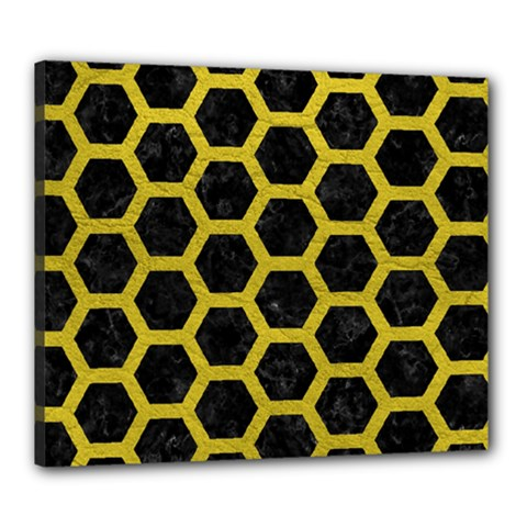 HEXAGON2 BLACK MARBLE & YELLOW LEATHER (R) Canvas 24  x 20
