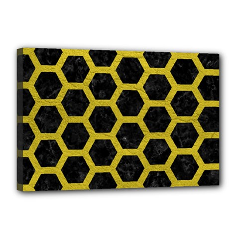 HEXAGON2 BLACK MARBLE & YELLOW LEATHER (R) Canvas 18  x 12